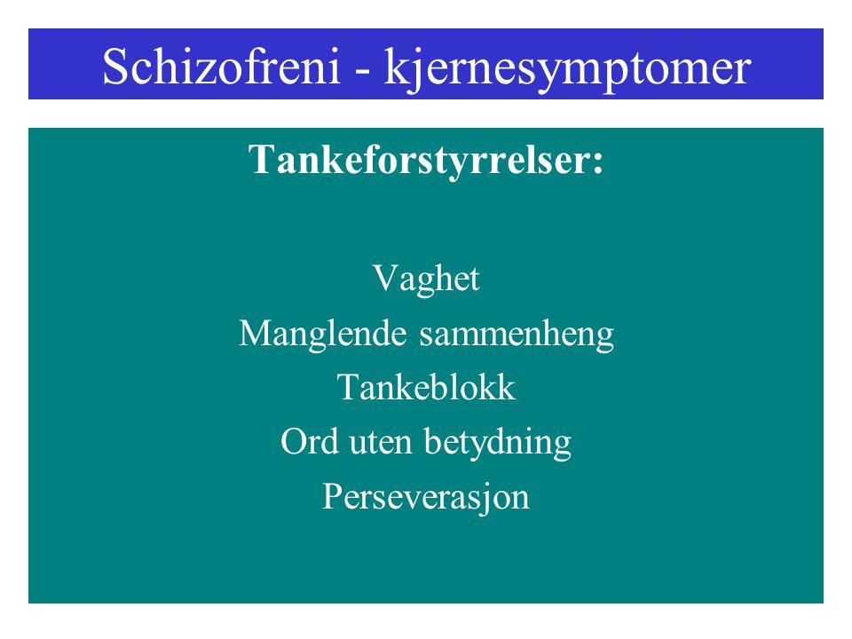 Schizofreni - kjernesymptomer Tankeforstyrrelser: Vaghet Manglende sammenheng Tankeblokk Ord uten betydning Perseverasjon