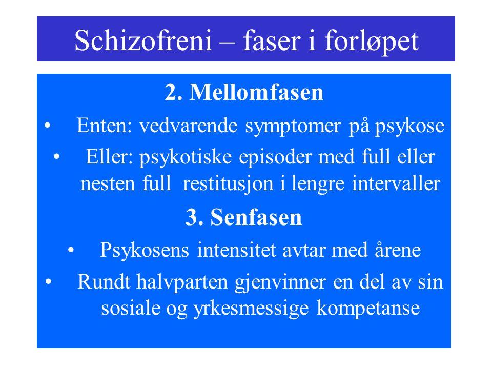 Schizofreni – faser i forløpet 2. Mellomfasen Enten: vedvarende symptomer på psykose Eller: psykotiske episoder med full eller nesten full restitusjon