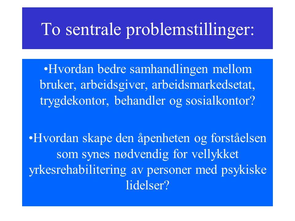 To sentrale problemstillinger: Hvordan bedre samhandlingen mellom bruker, arbeidsgiver, arbeidsmarkedsetat, trygdekontor, behandler og sosialkontor? H