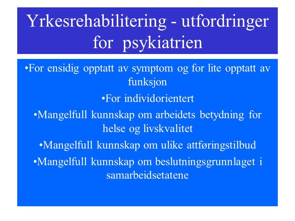 Yrkesrehabilitering - utfordringer for psykiatrien For ensidig opptatt av symptom og for lite opptatt av funksjon For individorientert Mangelfull kunn