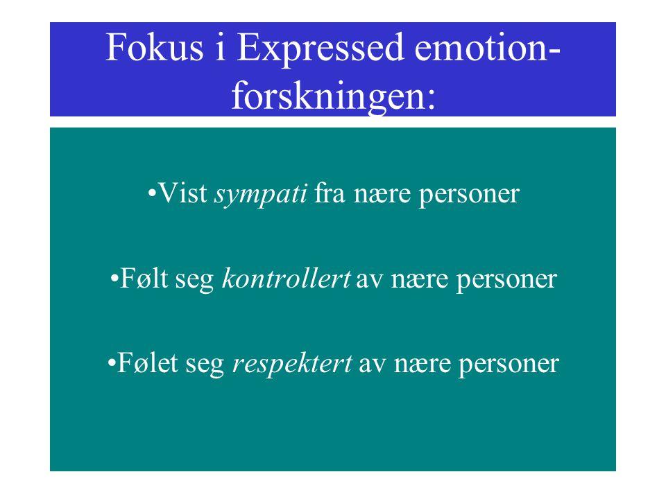 Fokus i Expressed emotion- forskningen: Vist sympati fra nære personer Følt seg kontrollert av nære personer Følet seg respektert av nære personer