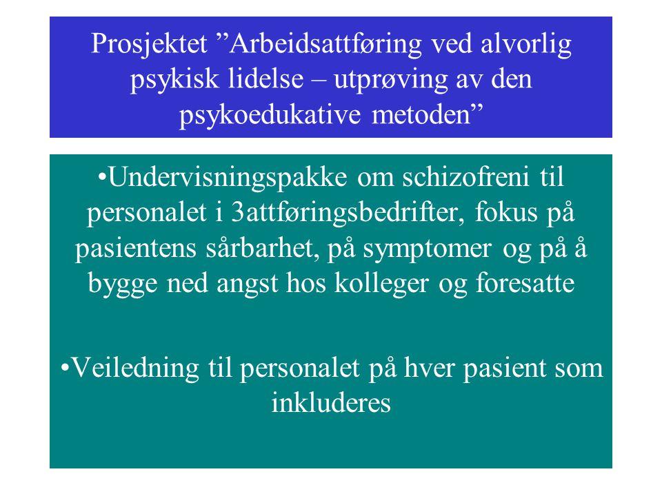 """Prosjektet """"Arbeidsattføring ved alvorlig psykisk lidelse – utprøving av den psykoedukative metoden"""" Undervisningspakke om schizofreni til personalet"""