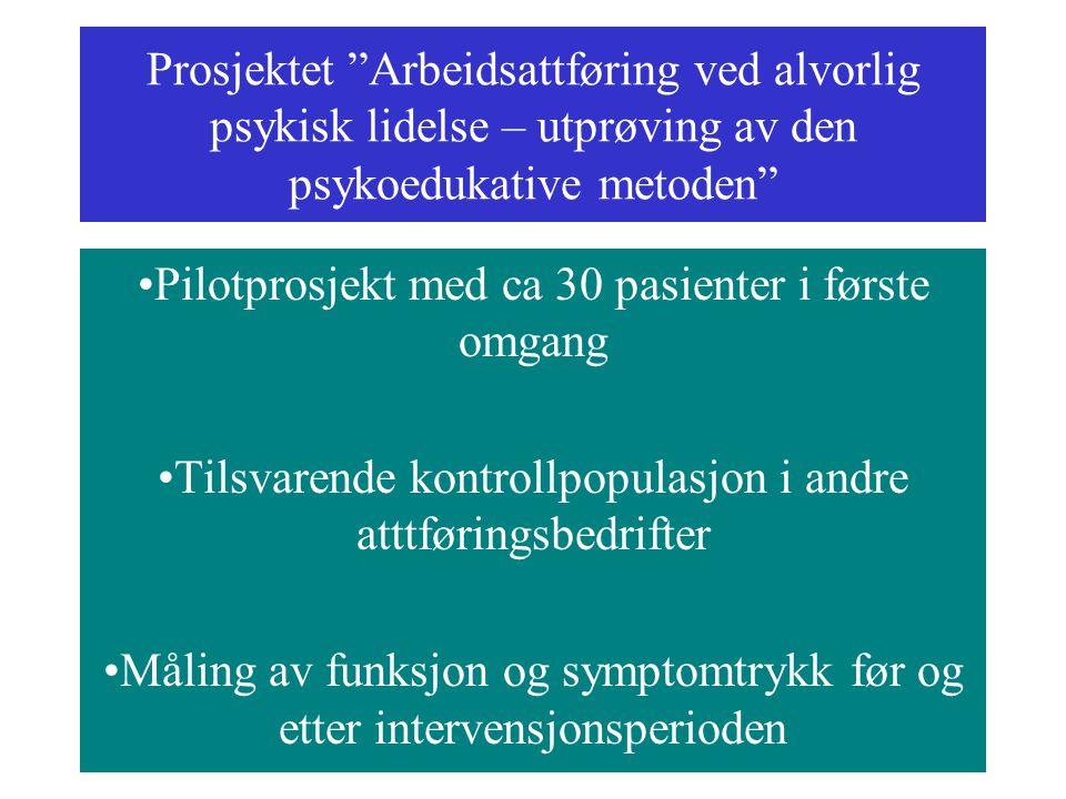 """Prosjektet """"Arbeidsattføring ved alvorlig psykisk lidelse – utprøving av den psykoedukative metoden"""" Pilotprosjekt med ca 30 pasienter i første omgang"""