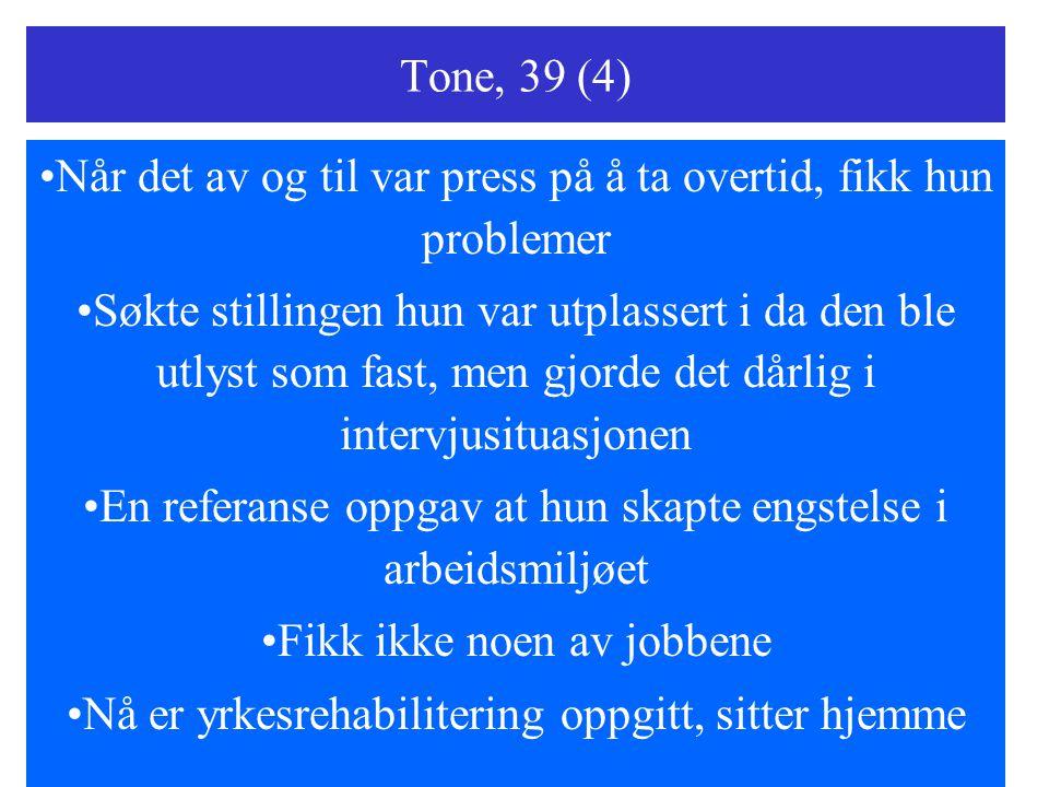 Tone, 39 (4) Når det av og til var press på å ta overtid, fikk hun problemer Søkte stillingen hun var utplassert i da den ble utlyst som fast, men gjo