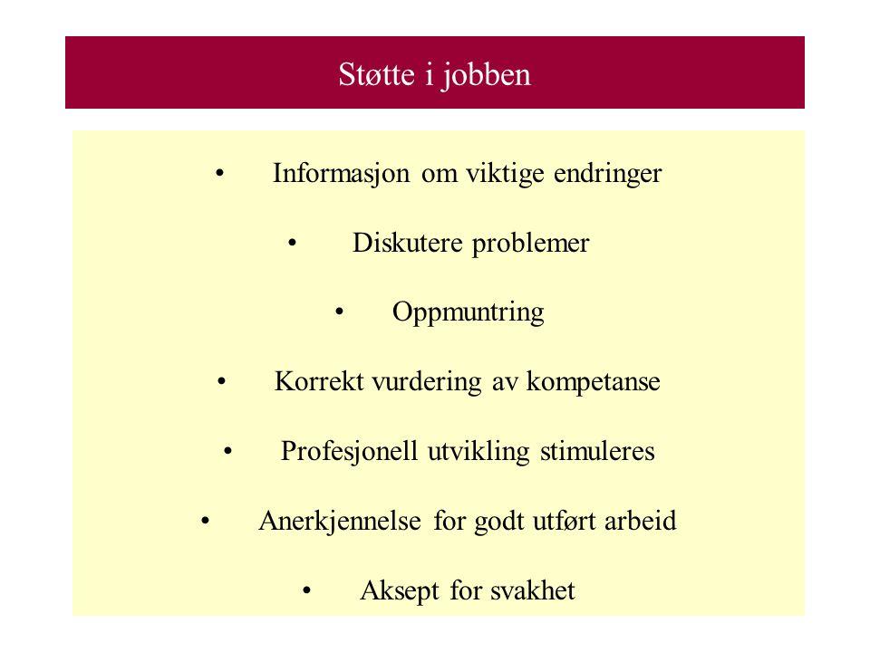 Støtte i jobben Informasjon om viktige endringer Diskutere problemer Oppmuntring Korrekt vurdering av kompetanse Profesjonell utvikling stimuleres Anerkjennelse for godt utført arbeid Aksept for svakhet
