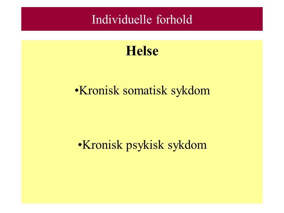 Individuelle forhold Helse Kronisk somatisk sykdom Kronisk psykisk sykdom