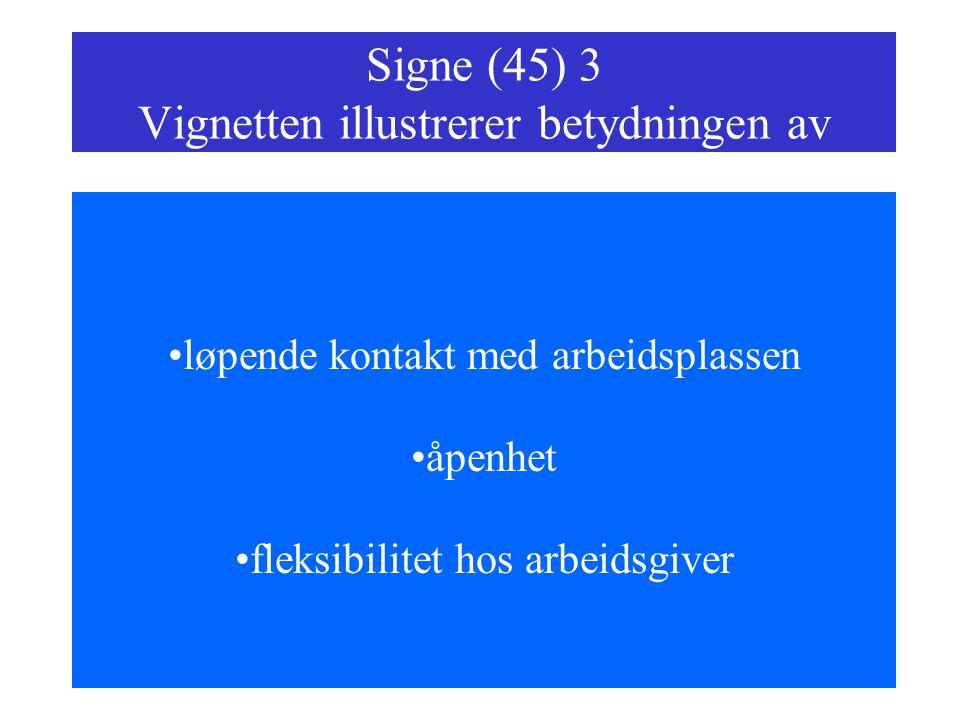 Signe (45) 3 Vignetten illustrerer betydningen av løpende kontakt med arbeidsplassen åpenhet fleksibilitet hos arbeidsgiver