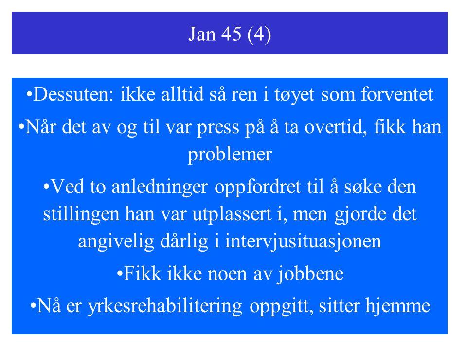 Jan 45 (4) Dessuten: ikke alltid så ren i tøyet som forventet Når det av og til var press på å ta overtid, fikk han problemer Ved to anledninger oppfo