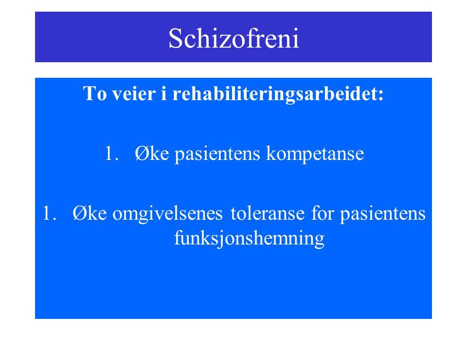 Schizofreni To veier i rehabiliteringsarbeidet: 1.Øke pasientens kompetanse 1.Øke omgivelsenes toleranse for pasientens funksjonshemning