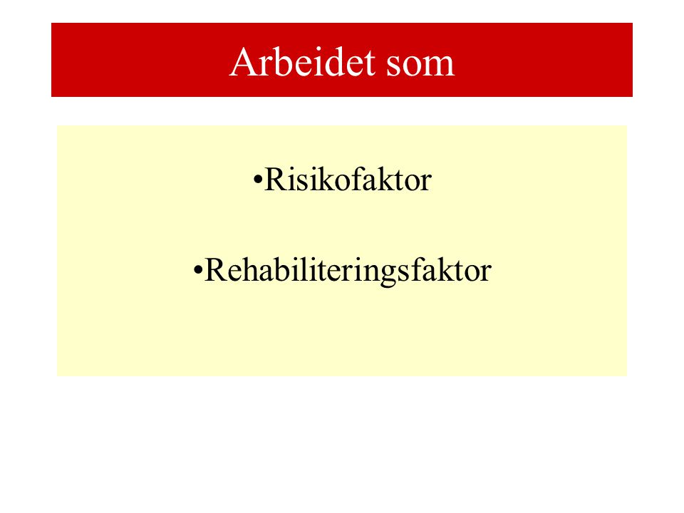 Arbeidet som Risikofaktor Rehabiliteringsfaktor