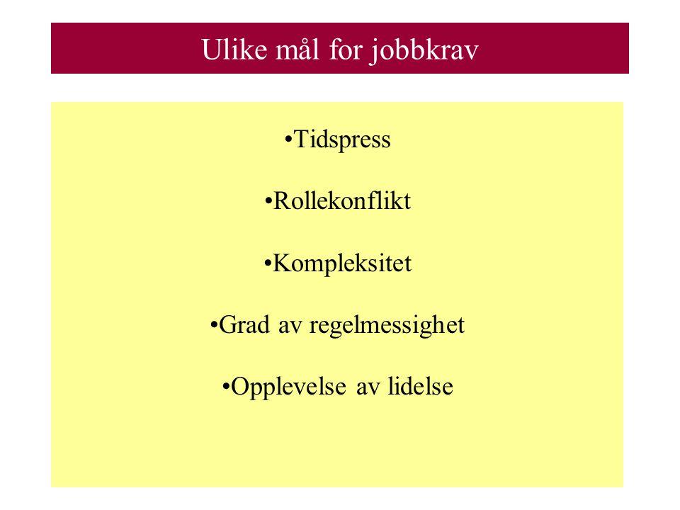 Ulike mål for jobbkrav Tidspress Rollekonflikt Kompleksitet Grad av regelmessighet Opplevelse av lidelse