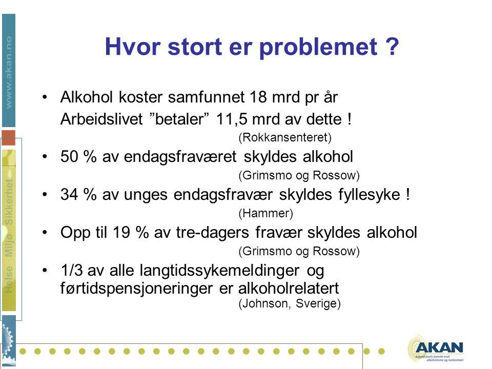 """.......................... Hvor stort er problemet ? Alkohol koster samfunnet 18 mrd pr år Arbeidslivet """"betaler"""" 11,5 mrd av dette ! (Rokkansenteret)"""