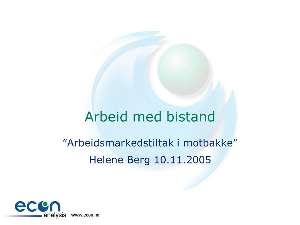 Arbeid med bistand Arbeidsmarkedstiltak i motbakke Helene Berg 10.11.2005