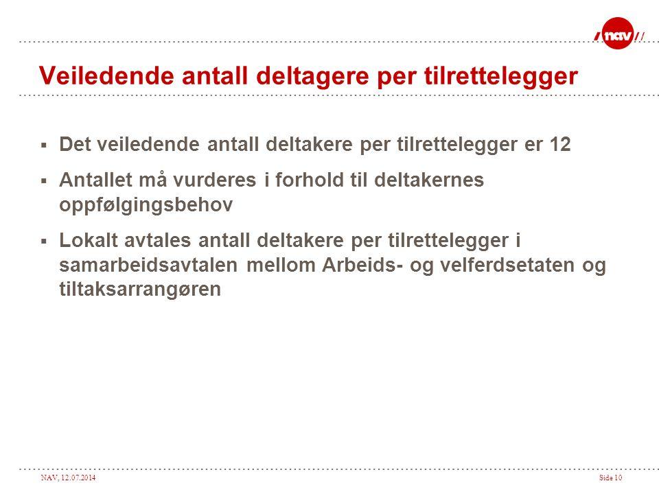NAV, 12.07.2014Side 10 Veiledende antall deltagere per tilrettelegger  Det veiledende antall deltakere per tilrettelegger er 12  Antallet må vurdere