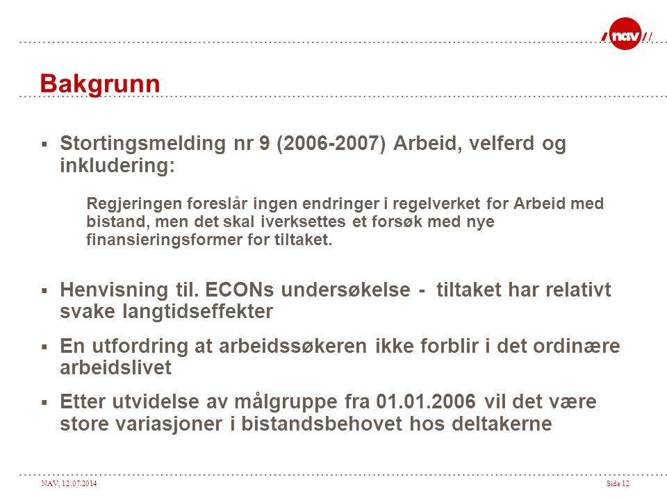 NAV, 12.07.2014Side 12 Bakgrunn  Stortingsmelding nr 9 (2006-2007) Arbeid, velferd og inkludering: Regjeringen foreslår ingen endringer i regelverket