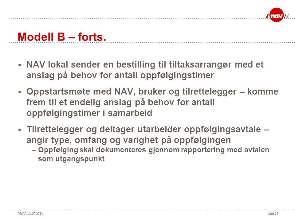 NAV, 12.07.2014Side 21 Modell B – forts.  NAV lokal sender en bestilling til tiltaksarrangør med et anslag på behov for antall oppfølgingstimer  Opp