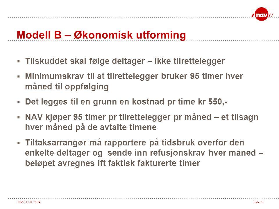 NAV, 12.07.2014Side 23 Modell B – Økonomisk utforming  Tilskuddet skal følge deltager – ikke tilrettelegger  Minimumskrav til at tilrettelegger bruk