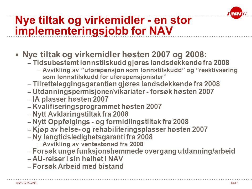 NAV, 12.07.2014Side 7 Nye tiltak og virkemidler - en stor implementeringsjobb for NAV  Nye tiltak og virkemidler høsten 2007 og 2008: – Tidsubestemt