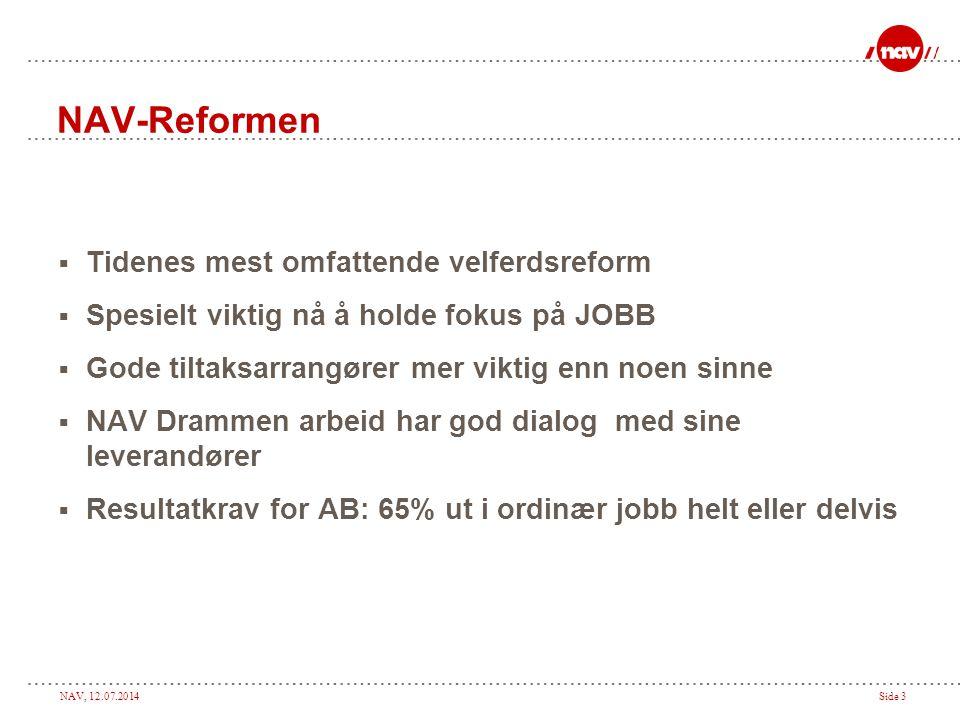 NAV, 12.07.2014Side 14 Hva skal en sluttrapport inneholde Samarbeid med overordnede og kollegaer ?