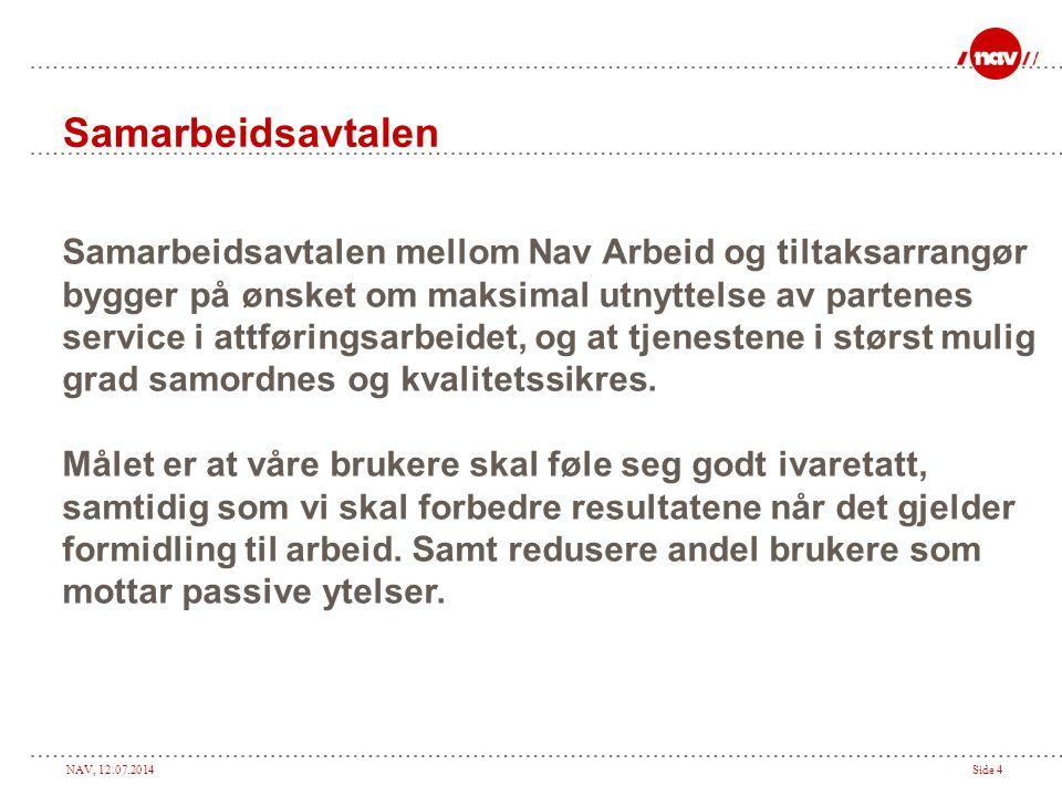 NAV, 12.07.2014Side 5 Rutiner for tilbakemelding og rapportering I samarbeidsavtalen skal det være nedtegnet rutiner for tilbakemelding og rapportering mellom den enkelte arbeidsmarkedsbedrift og Nav arbeid.