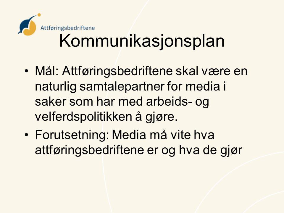Kommunikasjonsplan Mål: Attføringsbedriftene skal være en naturlig samtalepartner for media i saker som har med arbeids- og velferdspolitikken å gjøre.