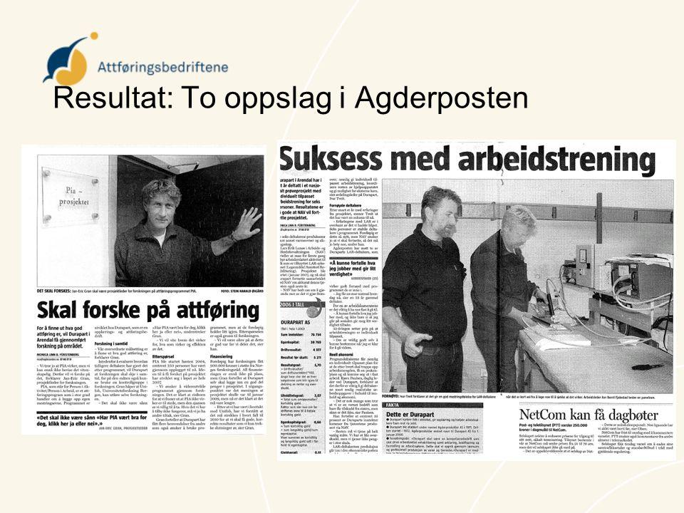 Resultat: To oppslag i Agderposten