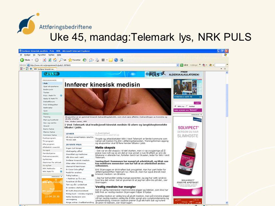 Uke 45, mandag:Telemark lys, NRK PULS