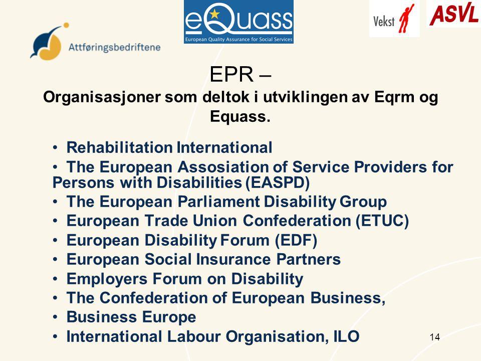 14 EPR – Organisasjoner som deltok i utviklingen av Eqrm og Equass.