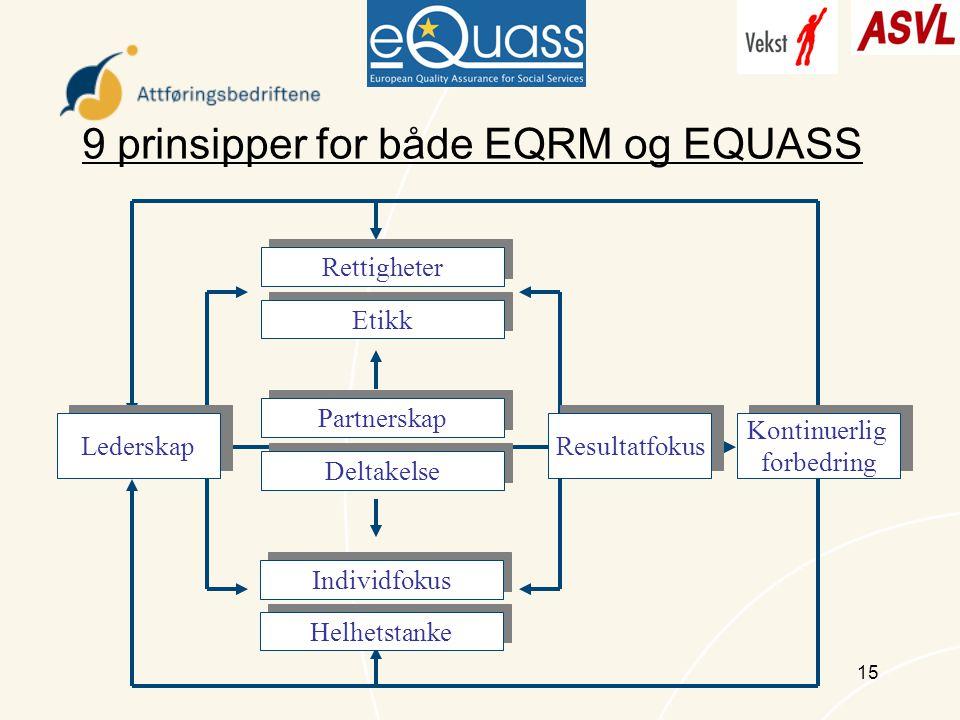 15 9 prinsipper for både EQRM og EQUASS Rettigheter Etikk Partnerskap Deltakelse Individfokus Helhetstanke Lederskap Kontinuerlig forbedring Kontinuerlig forbedring Resultatfokus