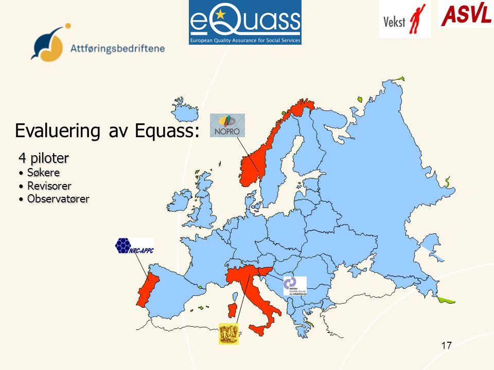 17 Evaluering av Equass: 4 piloter Søkere Søkere Revisorer Revisorer Observatører Observatører