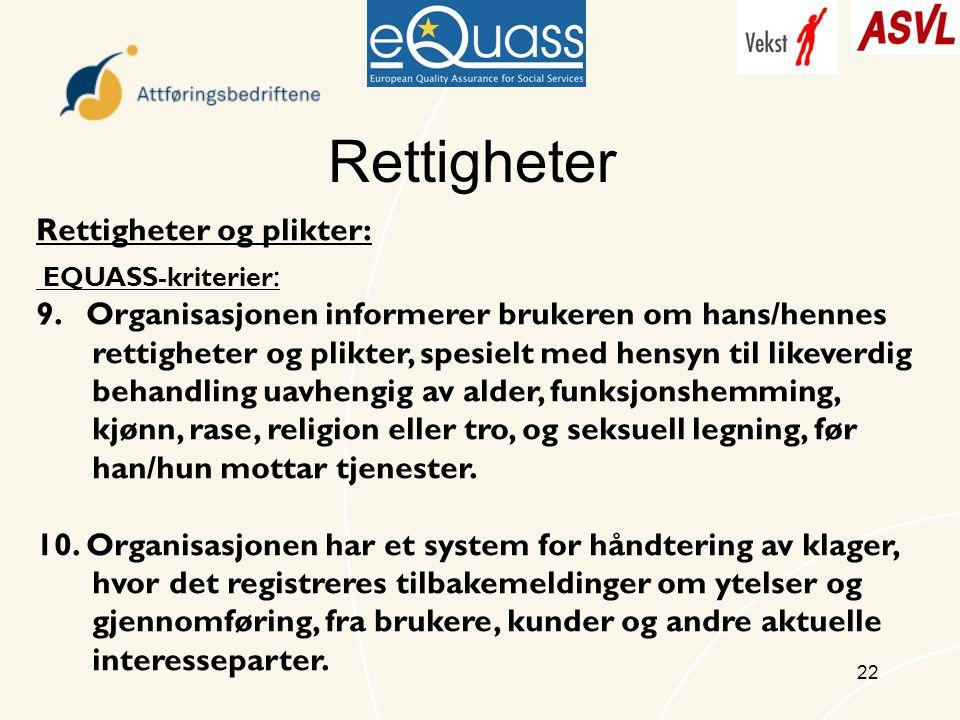 22 Rettigheter Rettigheter og plikter: EQUASS-kriterier : 9.