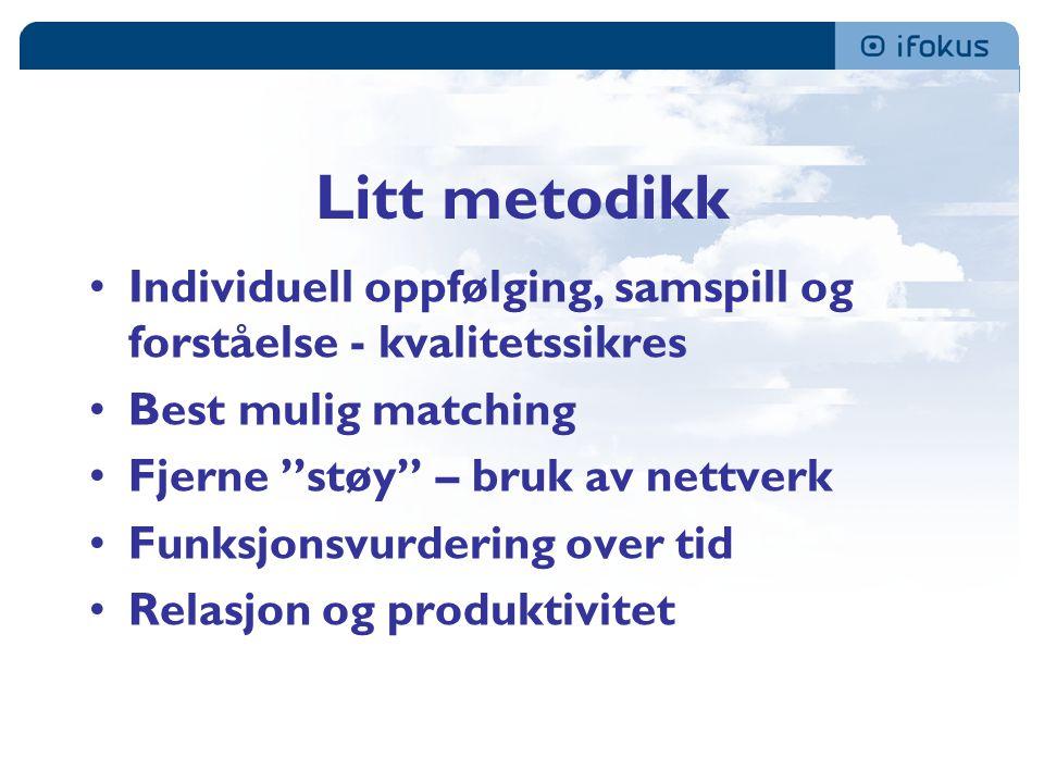 Litt metodikk Individuell oppfølging, samspill og forståelse - kvalitetssikres Best mulig matching Fjerne støy – bruk av nettverk Funksjonsvurdering over tid Relasjon og produktivitet