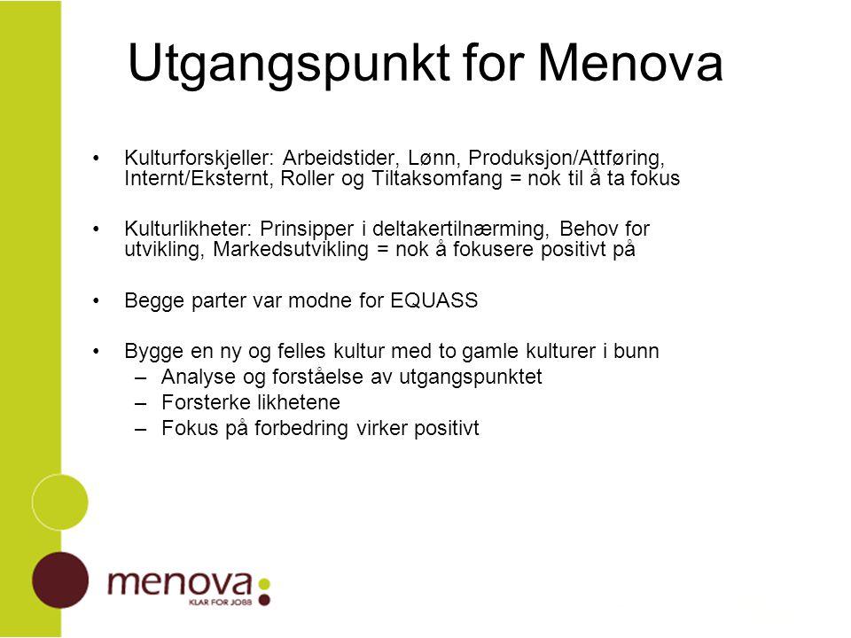 Utgangspunkt for Menova Kulturforskjeller: Arbeidstider, Lønn, Produksjon/Attføring, Internt/Eksternt, Roller og Tiltaksomfang = nok til å ta fokus Ku