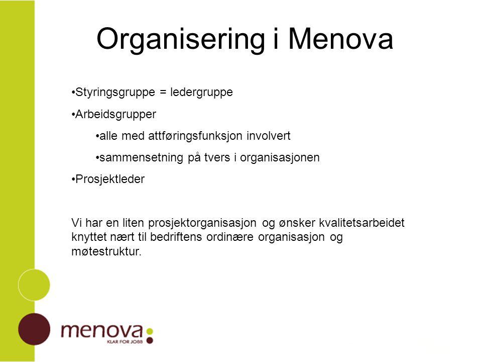 Organisering i Menova Styringsgruppe = ledergruppe Arbeidsgrupper alle med attføringsfunksjon involvert sammensetning på tvers i organisasjonen Prosje