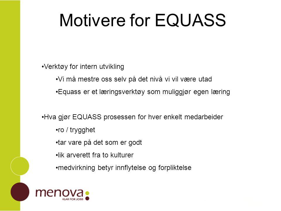 Motivere for EQUASS Verktøy for intern utvikling Vi må mestre oss selv på det nivå vi vil være utad Equass er et læringsverktøy som muliggjør egen lær