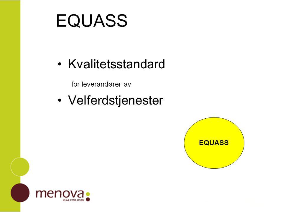 EQUASS generelle trekk EQUASS står for kvalitet – alle vil forbindes med kvalitet EQUASS oppfattes som et verktøy til å bli gode – alle vil det EQUASS som garanti til deltakere og oppdragsgivere Bransjen samler seg om en felles kvalitetsstandard positiv felles fane i en lite homogen bransje
