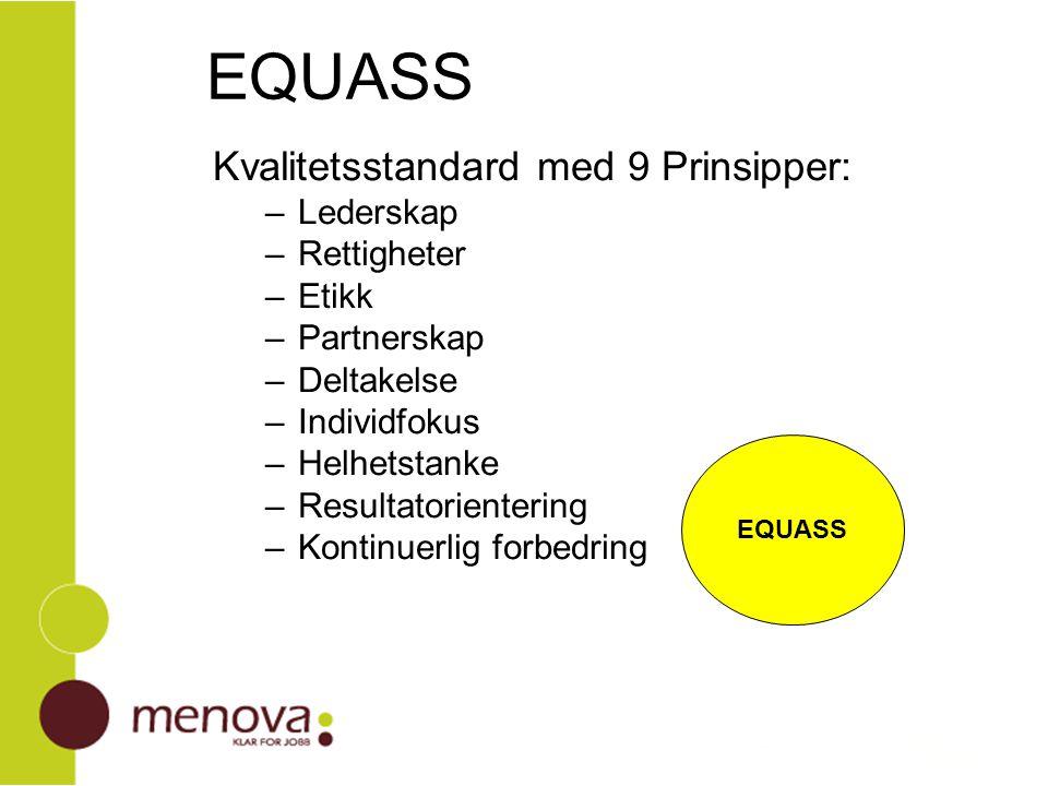 Kvalitetsstandard med 9 Prinsipper: –Lederskap –Rettigheter –Etikk –Partnerskap –Deltakelse –Individfokus –Helhetstanke –Resultatorientering –Kontinue
