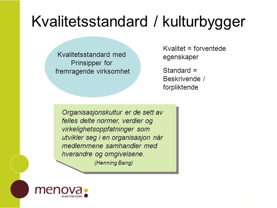 Kvalitetsstandard / kulturbygger Kvalitetsstandard med Prinsipper for fremragende virksomhet Organisasjonskultur er de sett av felles delte normer, ve