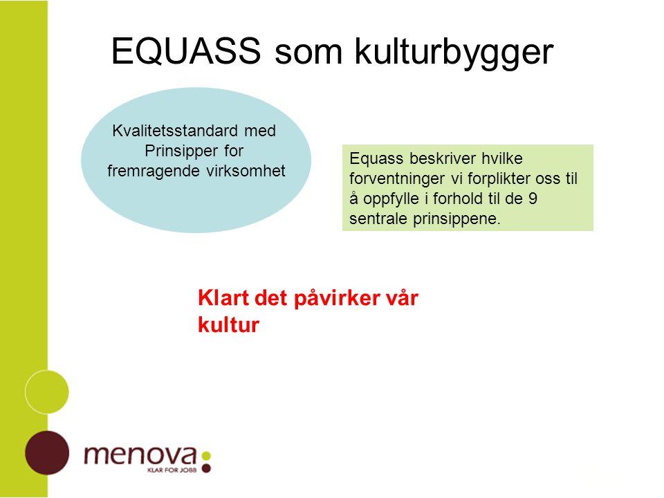 Equass som kulturbygger Grunnsyn vi kjenner oss igjen i Prosessen er verdifull, gir felles eie Kultur og forretningsstrategi Samhandling med omgivelsene Kanaliserer energi til utvikling Lærende organisasjon