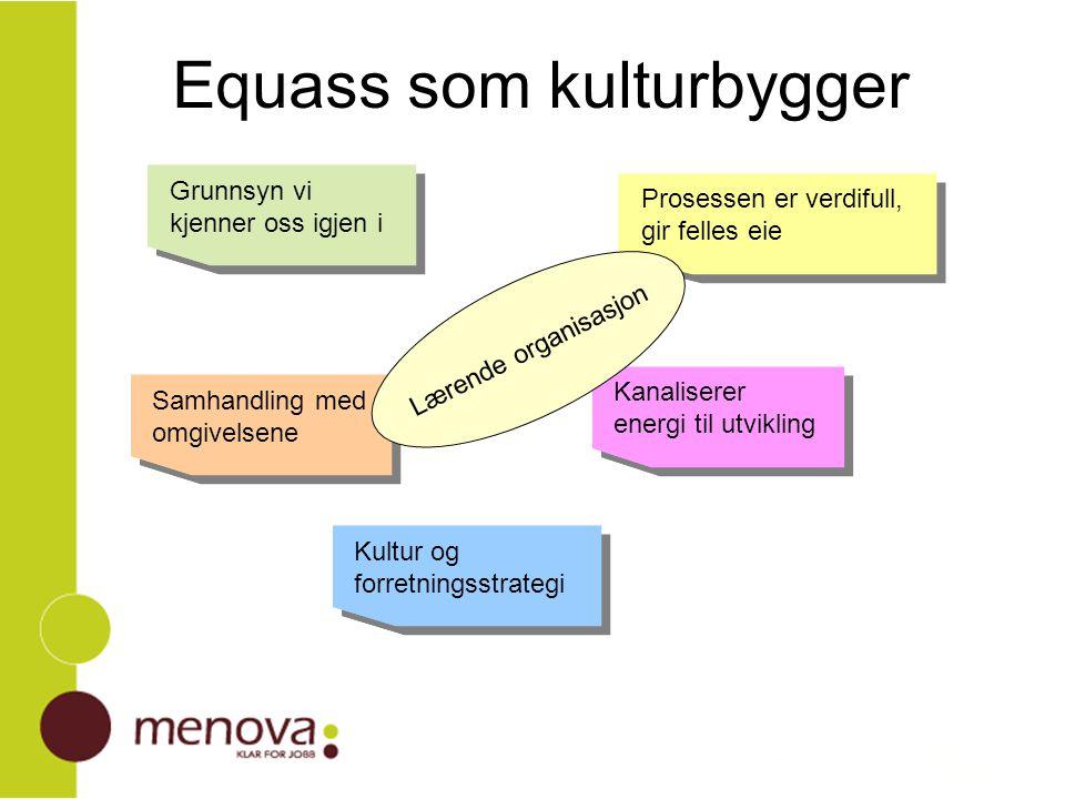 Equass som kulturbygger Grunnsyn vi kjenner oss igjen i Prosessen er verdifull, gir felles eie Kultur og forretningsstrategi Samhandling med omgivelse