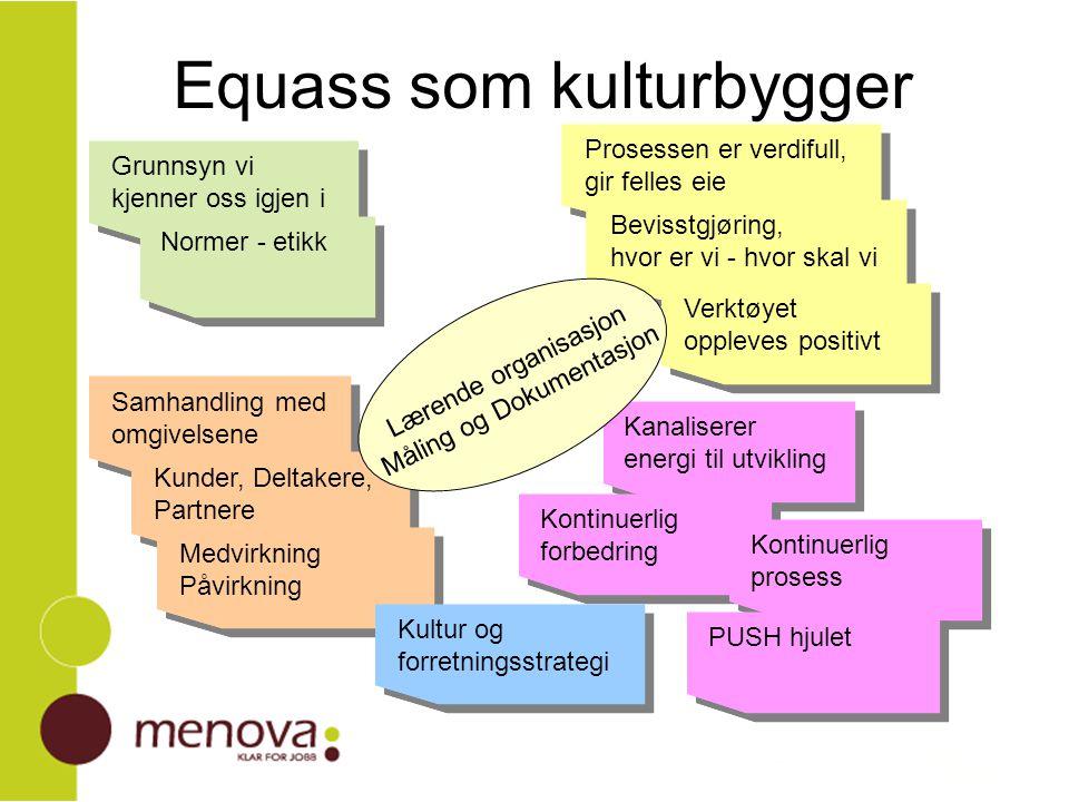Våre erfaringer Equass tydeliggjør den attføringsfaglige delen av rollen Equass viser helhetens bidrag til attføringsresultatene Equass er en arena alle ønsker utviklingsverktøy – prosessene oppleves positivt viser at ingen ting er låst og at ingen arv (Multipro/Eikli) er prioritert mulighetenes marked for ulike synspunkter samhandling i arbeidsgrupper gir reell kjennskap til og kunnskap om hverandres ulike roller