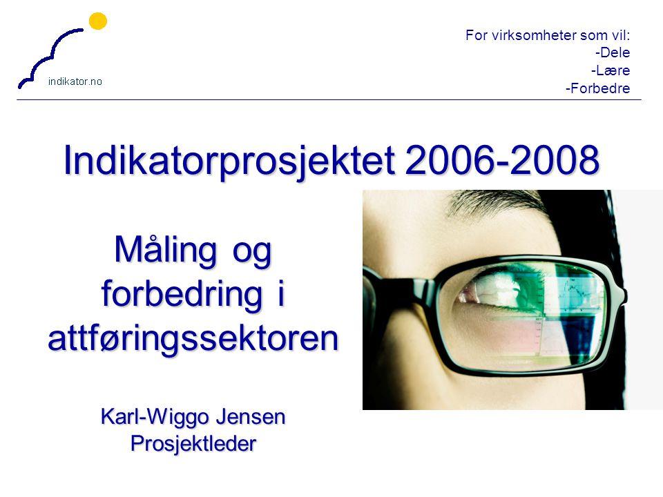For virksomheter som vil: -Dele -Lære -Forbedre 1 Indikatorprosjektet 2006-2008 Måling og forbedring i attføringssektoren Karl-Wiggo Jensen Prosjektle