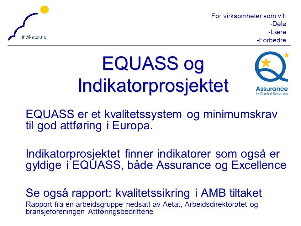 For virksomheter som vil: -Dele -Lære -Forbedre 13 EQUASS er et kvalitetssystem og minimumskrav til god attføring i Europa. Indikatorprosjektet finner
