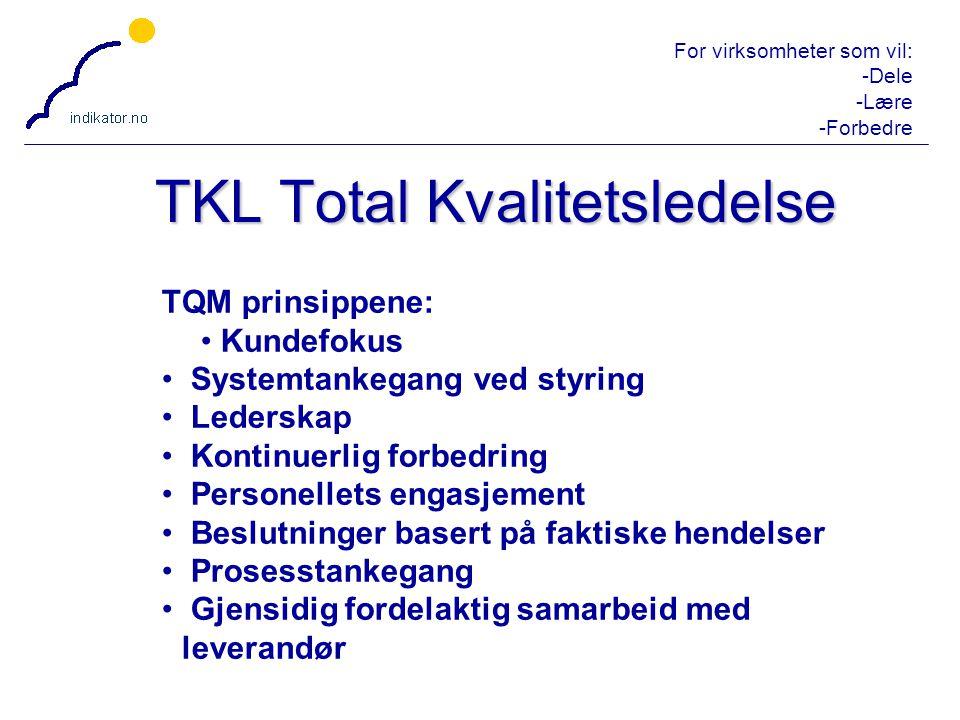 For virksomheter som vil: -Dele -Lære -Forbedre 16 TKL Total Kvalitetsledelse TQM prinsippene: Kundefokus Systemtankegang ved styring Lederskap Kontin