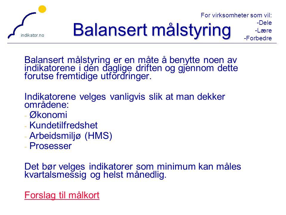 For virksomheter som vil: -Dele -Lære -Forbedre 21 Balansert målstyring Balansert målstyring er en måte å benytte noen av indikatorene i den daglige d