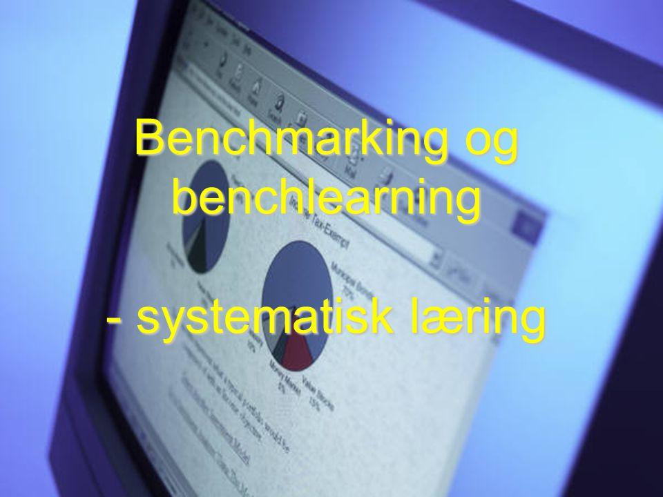 For virksomheter som vil: -Dele -Lære -Forbedre 22 Benchmarking og benchlearning - systematisk læring