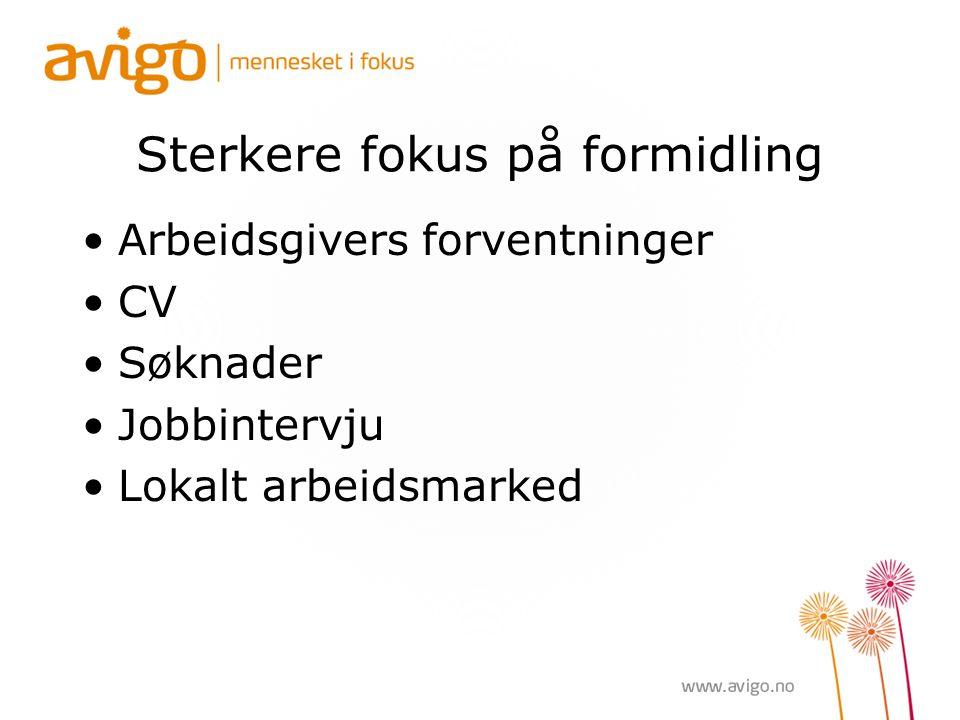 Sterkere fokus på formidling Arbeidsgivers forventninger CV Søknader Jobbintervju Lokalt arbeidsmarked
