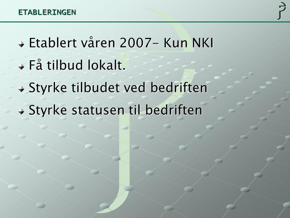 ETABLERINGEN Etablert våren 2007- Kun NKI Få tilbud lokalt.