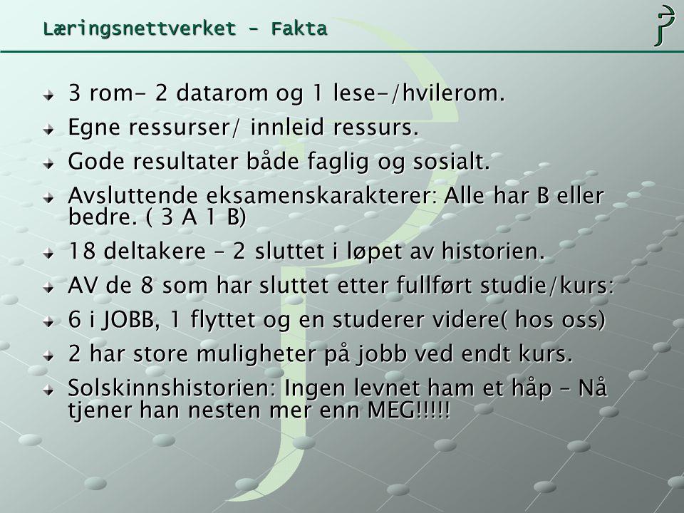 Læringsnettverket - Fakta 3 rom- 2 datarom og 1 lese-/hvilerom.