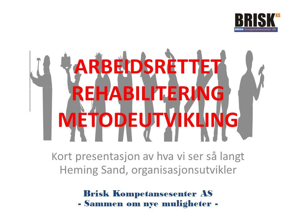 ARBEIDSRETTET REHABILITERING METODEUTVIKLING K ort presentasjon av hva vi ser så langt Heming Sand, organisasjonsutvikler Brisk Kompetansesenter AS -